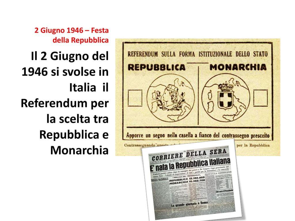 Il 2 Giugno del 1946 si svolse in Italia il Referendum per la scelta tra Repubblica e Monarchia.